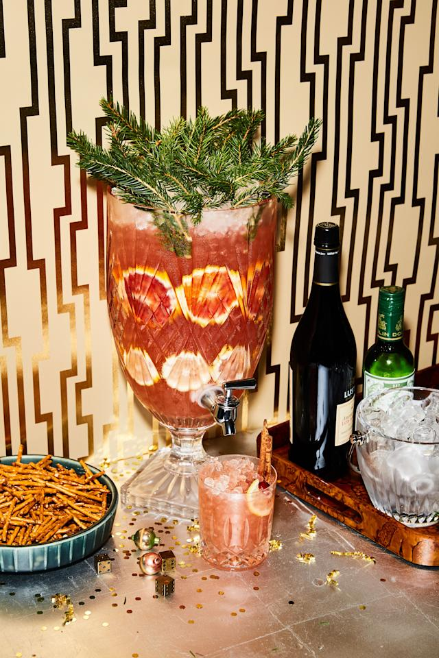 """This punch recipe easily scales down by half, or even all the way to festive drinks for two. <a href=""""https://www.bonappetit.com/recipe/under-the-mistletoe-punch?mbid=synd_yahoo_rss"""">See recipe.</a>"""