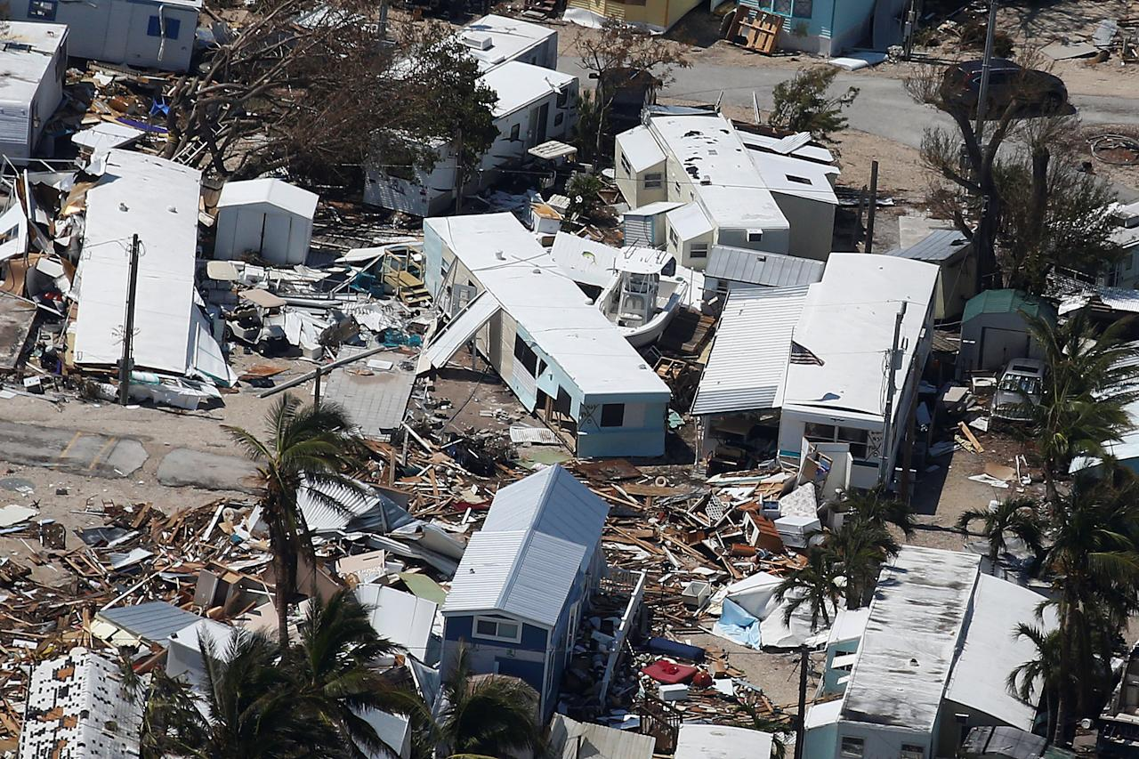 <p>A destroyed trailer park is pictured in an aerial photo in the Keys in Marathon, Fla., Sept. 13, 2017. (Photo: Carlo Allegri/Reuters) </p>