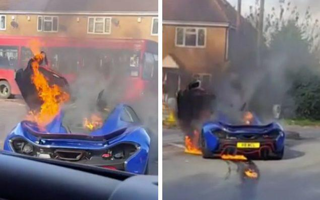 The blue P1 hypercar, one of only 375 made, erupted into a fireball at a junction in Colnbrook, Berkshire - Andrew Cruze/Instagram