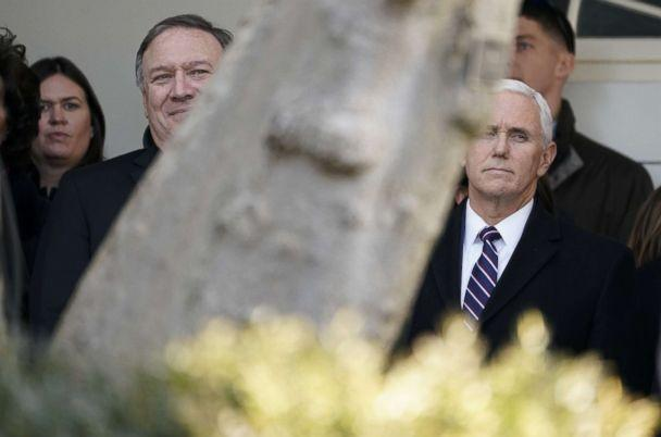 PHOTO: White House press secretary Sarah Huckabee Sanders, Secretary of State Mike Pompeo and Vice President Mike Pence listen to President Donald Trump announce a deal to end the government shutdown in the Rose Garden of the White House, Jan. 25, 2019. (Kevin Lamarque/Reuters)