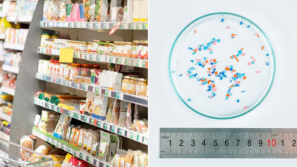 Pictured is a generic supermarket aisle and a lab testing microplastics