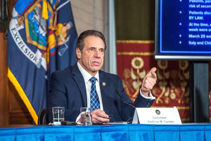 Gov. Andrew Cuomo holds a press briefing  on Feb. 15, 2021, as he explains how nursing home deaths were counted.