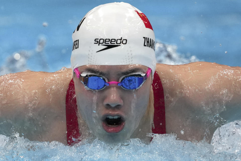 Zhang Yufei of China swims in the women's 200-meter butterfly final at the 2020 Summer Olympics, Thursday, July 29, 2021, in Tokyo, Japan. (AP Photo/Matthias Schrader)