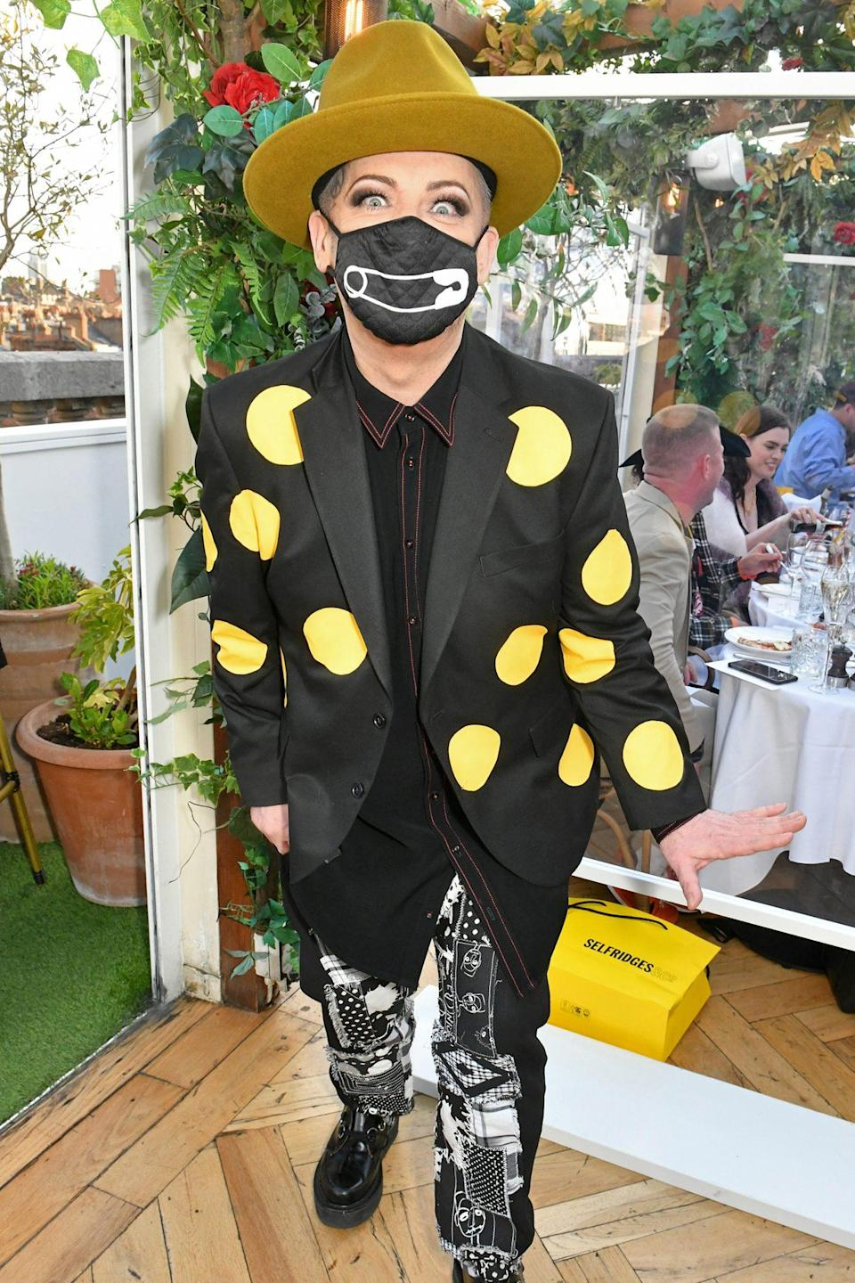 <p>Boy George attends the reopening of Selfridge's rooftop restaurant Alto by San Carlo on Monday in London. </p>