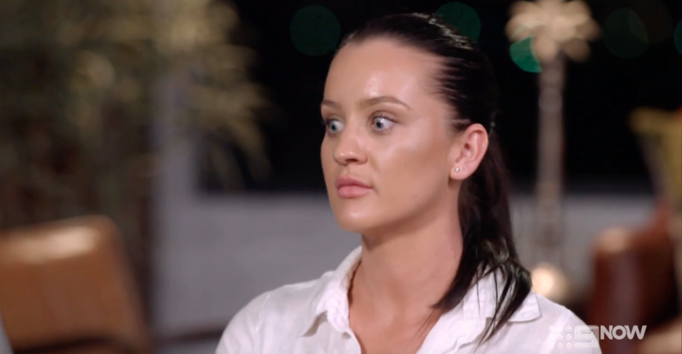 A screenshot of Married At First Sight contestant Ines Basic looking surprised in season six