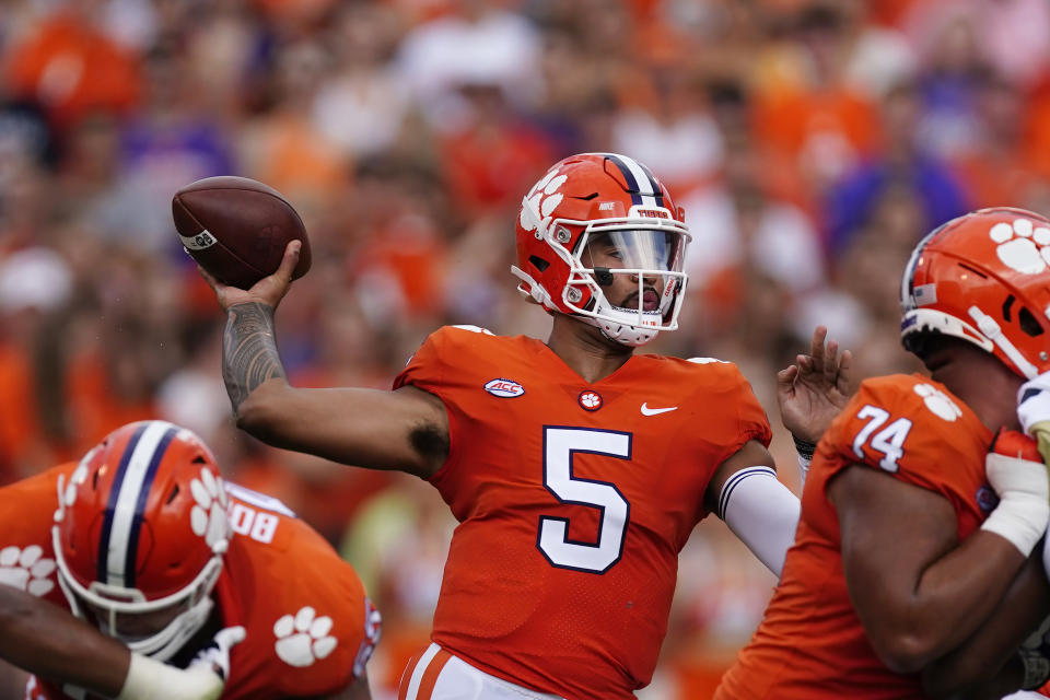 Clemson quarterback D.J. Uiagalelei (5) throws a pass in the second half of an NCAA college football game against Georgia Tech Saturday, Sept. 18, 2021, in Clemson, S.C. (AP Photo/John Bazemore)