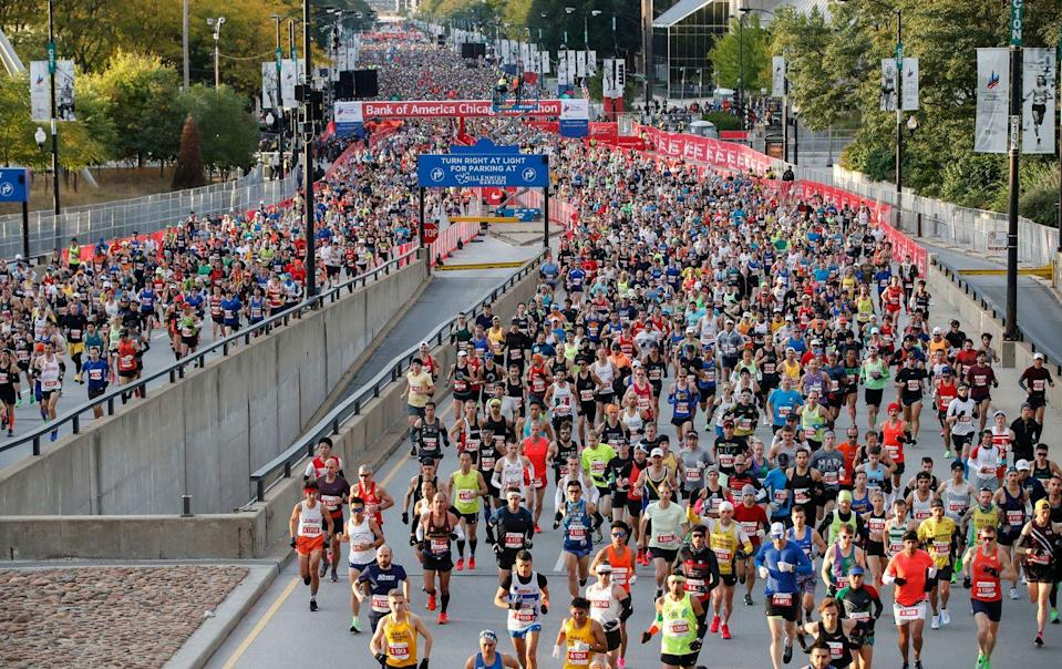 "<p>You can't <a href=""https://www.chicagomarathon.com/runners/rules-safety/event-rules/"" rel=""nofollow noopener"" target=""_blank"" data-ylk=""slk:run a marathon"" class=""link rapid-noclick-resp"">run a marathon</a> for an unlimited amount of time. Many cap their race times around the six or seven hour mark. </p>"
