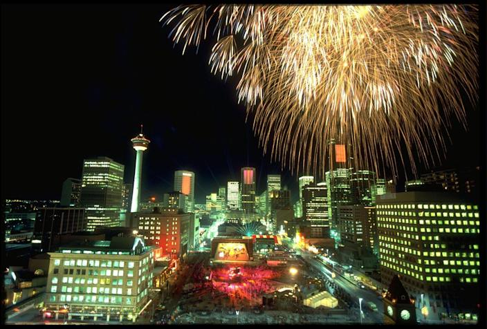 <p>Canada delivered an impressive fireworks display across the Calgary skyline as they hosted the opening ceremony for the Winter Olympics in 1988. </p>