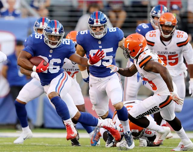 Fans at MetLife Stadium on Thursday night had the opportunity to place legal bets on the New York Giants-Cleveland Browns preseason game from the comfort of their own seats. (Getty Images)