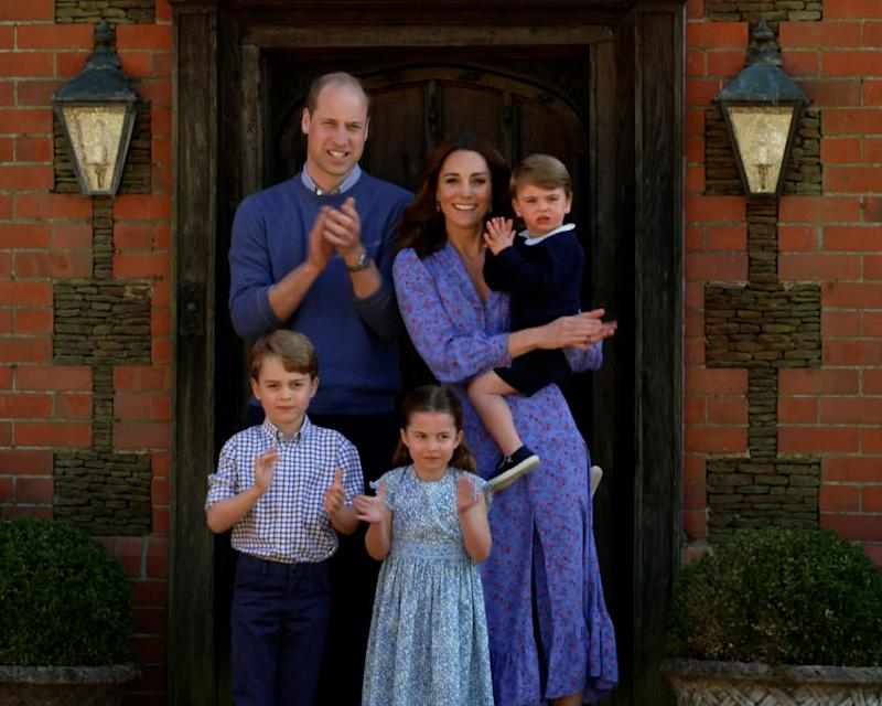 Prince William, Duke of Cambridge, Catherine Duchess of Cambridge, Prince George of Cambridge, Princess Charlotte of Cambridge and Prince Louis of Cambridge clap for NHS carers as part of the BBC Children In Need and Comic Relief 'Big Night In at London on April 23, 2020 in London, England.
