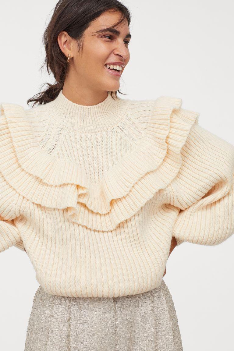 <p>This on-trend <span>H&amp;M Flounced Rib-Knit Sweater</span> ($20) is an impressive deal.</p>