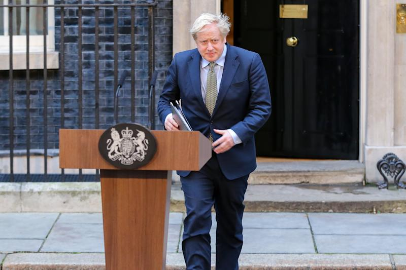LONDON, UNITED KINGDOM - 2019/12/13: British Prime Minister Boris Johnson speaks in Downing Street, London after his gamble on early election paid off as the Conservative Party won a majority in the 2019 General Election. The Conservative Party's commanding majority will take United Kingdom out of the European Union by the end of January 2020. (Photo by Steve Taylor/SOPA Images/LightRocket via Getty Images)