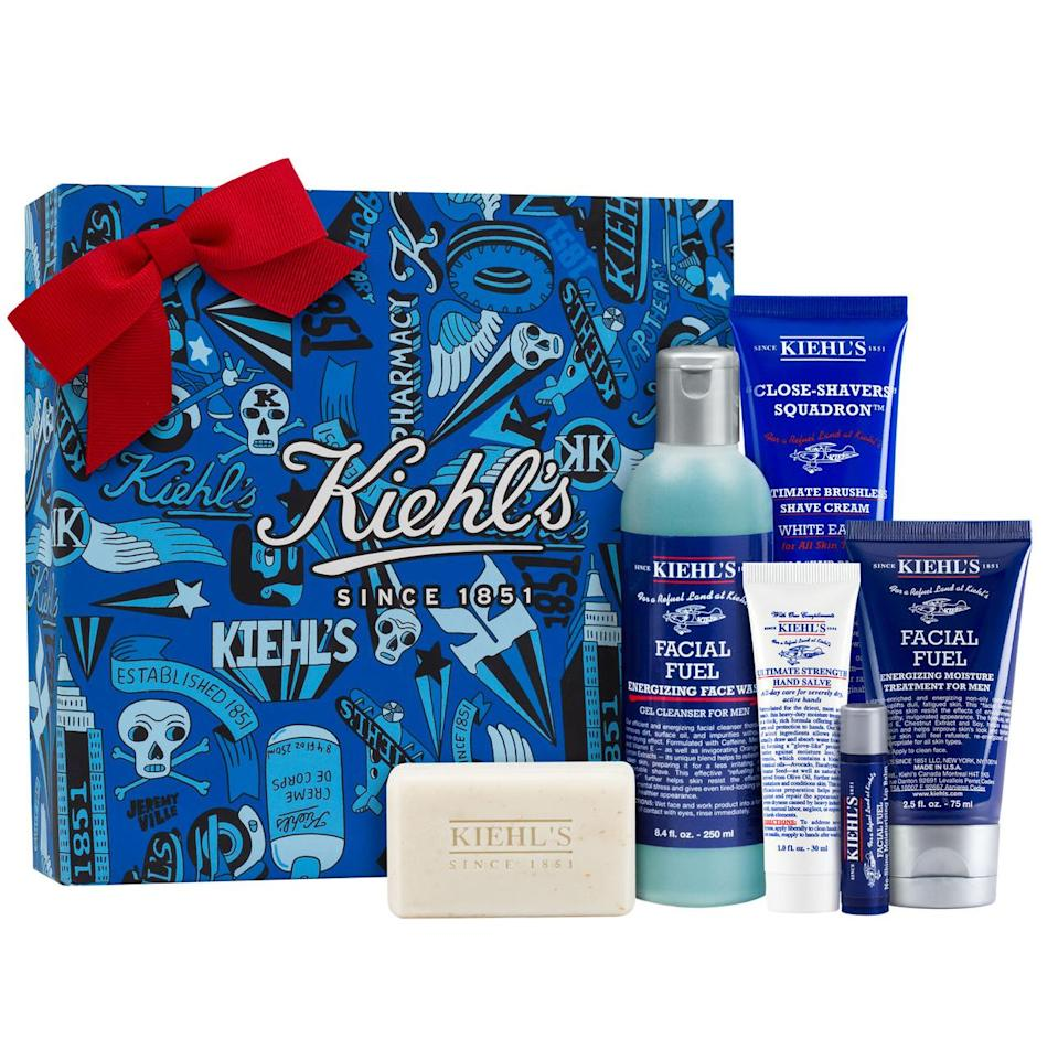 """<p>Help the men on your list refuel with this kit from Kiehl's featuring face wash, shave cream, and more. </p><p>Buy it <a rel=""""nofollow noopener"""" href=""""http://www.kiehls.com/ultimate-man-full-body-refueling-set/KHL086.html?cgid=holiday-gifts-him&dwvar_KHL086_size=Gift+Set#start%3D5%26cgid%3Dholiday-gifts-him"""" target=""""_blank"""" data-ylk=""""slk:here"""" class=""""link rapid-noclick-resp"""">here</a> for $62.</p>"""