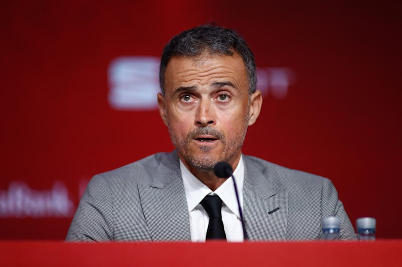 Luis Enrique, durante su presentación. (Photo by Oscar J. Barroso / AFP7 / Europa Press Sports via Getty Images)