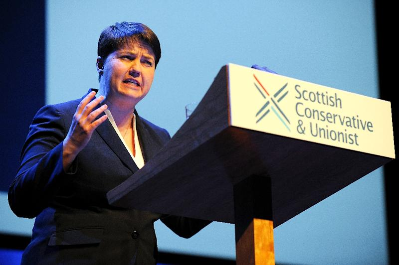 Leader of the Scottish Conservative and Unionist Party Ruth Davidson reaffirmed her opposition to independence at the party's conference in Glasgow (AFP Photo/Andy Buchanan)