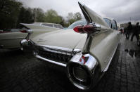 """The tail fin of a Cadillac Sedan Deville is seen at the 3rd edition of """"Retromobil"""" vintage car show in Bucharest April 12, 2014. REUTERS/Radu Sigheti (ROMANIA - Tags: TRANSPORT SOCIETY)"""