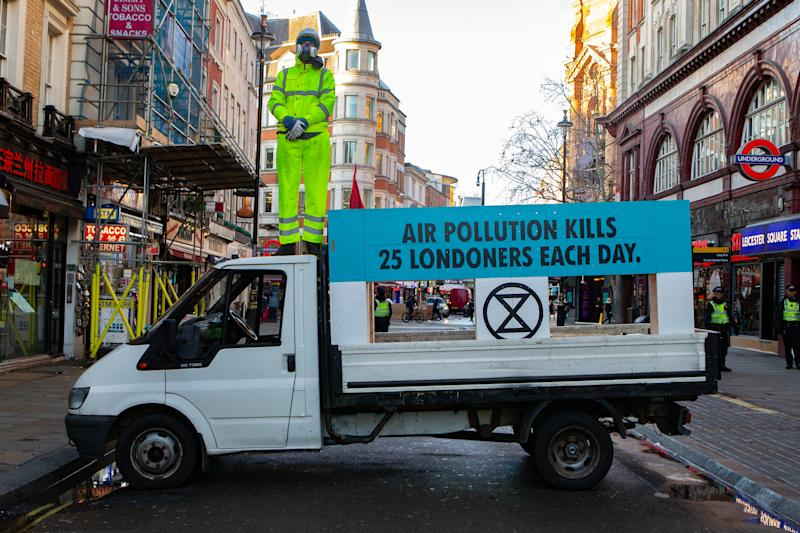 Extinction Rebellion Block Central London Road to Demand Action on Deadly Air Pollution as Hunger Strikers Continue into Fourth Week, London, UK, 9 December 2019 (Photo by Robin Pope / NurPhoto via Getty Images) (Photo by Robin Pope/NurPhoto via Getty Images)