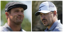 FILE- This combo of 2021 file photos show golfers Bryson DeChambeau, left, and and Brooks Koepka. While the 2020 U.S. Ryder Cup team includes DeChambeau and Koepka, who have made their dislike for each other abundantly clear over the last few months. The pandemic-delayed 2020 Ryder Cup returns the United States next week at Whistling Straits along the Wisconsin shores of Lake Michigan. (AP Photo/File)