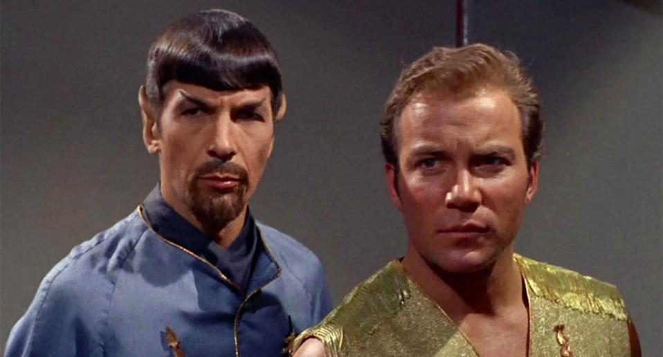 Leonard Nimoy as Spock and William Shatner as Kirk in the 1967 <i>Star Trek</i> episode <i>'Mirror, Mirror'</i> (CBS)