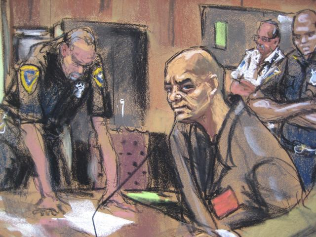 Pedro Hernandez is seen in court in this sketch in New York, October 2, 2013. Hernandez, the man who confessed to the 1979 killing of 6-year-old Etan Patz, made a brief courtroom appearance on Wednesday. The hearing was part of the ongoing evidence discovery process. REUTERS/Jane Rosenberg (UNITED STATES - Tags: CRIME LAW) NO ARCHIVES