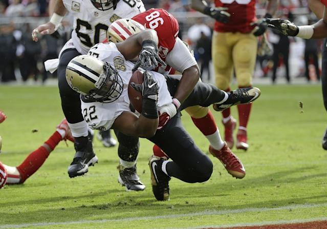 New Orleans' Mark Ingram became the latest running back to have a career day against the 49ers. (AP)
