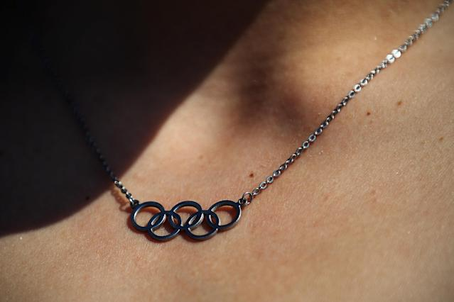 LONDON, ENGLAND - JULY 22: Bulgaria's swimmer Ekaterina Avramova wears a Olympic rings necklace at Olympic Village on July 22, 2012 in London, England. (Photo by Feng Li/Getty Images)