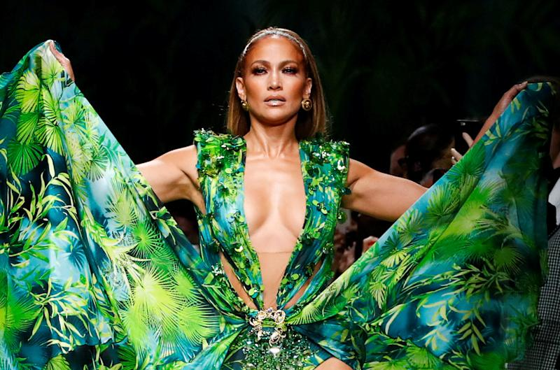 Lopez rewore the design in the Versace show in September. (Photo: REUTERS/Alessandro Garofalo)
