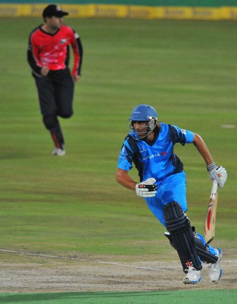 PRETORIA, SOUTH AFRICA - OCTOBER 26: (SOUTH AFRICA OUT) David Wiese of the Titans in action during the Karbonn Smart CLT20 Semi Final match between Nashua Titans and Sydney Sixers at SuperSport Park on October 26, 2012 in Pretoria, South Africa (Photo by Duif du Toit/Gallo Images/Getty Images)