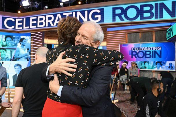 PHOTO: Robin Roberts and Charlie Gibson embrace on 'Good Morning America' on Jan. 15, 2020 in celebration of her 30th anniversary at the Walt Disney Company. (Lorenzo Bevilaqua/ABC)