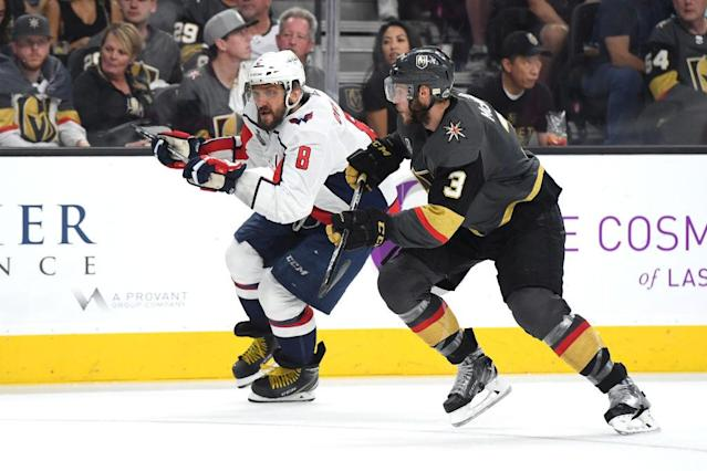 Brayden McNabb (right) and Nate Schmidt have kept a close eye on Ovechkin through Games 1 and 2.
