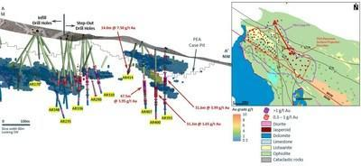 Figure 3: Section showcasing highlight step-out intercepts below the PEA case pit. (CNW Group/SSR Mining Inc.)