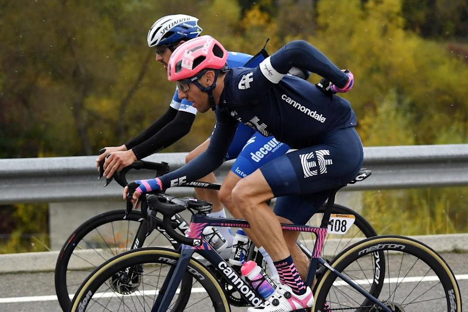 SALLENT DE GLLEGO SPAIN  OCTOBER 25 Michael Woods of Canada and Team EF Pro Cycling  Mattia Cattaneo of Italy and Team Deceuninck  QuickStep  during the 75th Tour of Spain 2020  Stage 6 a 1464km stage from Biescas to Sallent de Gllego  Aramn Formigal 1790m  lavuelta  LaVuelta20  La Vuelta  on October 25 2020 in Sallent de Gllego Spain Photo by David RamosGetty Images