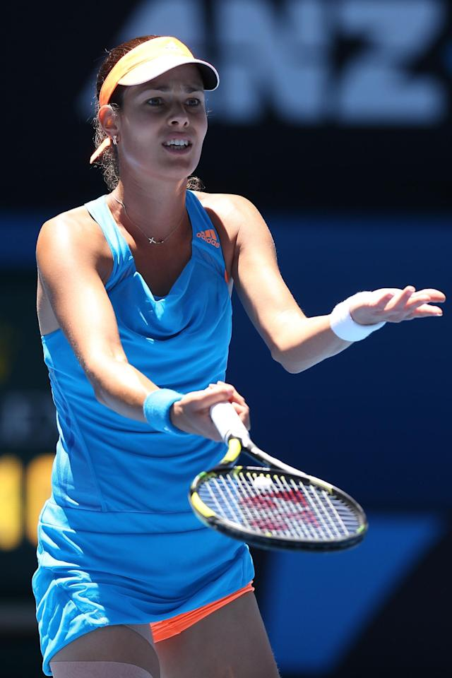 MELBOURNE, AUSTRALIA - JANUARY 21: Ana Ivanovic of Serbia questions a call in her quarterfinal match against Eugenie Bouchard of Canada during day nine of the 2014 Australian Open at Melbourne Park on January 21, 2014 in Melbourne, Australia. (Photo by Michael Dodge/Getty Images)