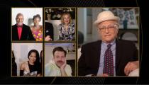 Honoree Norman Lear accepts the Carol Burnett Award in this handout screen grab from the 78th Annual Golden Globe Awards in Beverly Hills