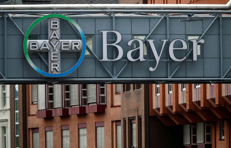FILE PHOTO: Logo of Bayer AG at a plant of the German pharmaceutical and chemical maker in Wuppertal