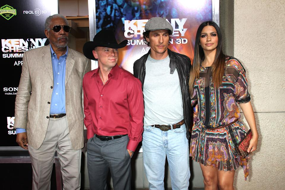 """Morgan Freeman, Kenny Chesney, Matthew McConaughey and Camila Alves at the Premiere Of """"Kenny Chesney: Summer In 3D"""" at Rave Theatres, Town Square, Las Vegas"""