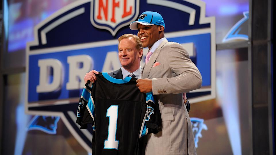 Mandatory Credit: Photo by Stephen Chernin/AP/Shutterstock (9290377k)Cam Newton,Roger Goodell.