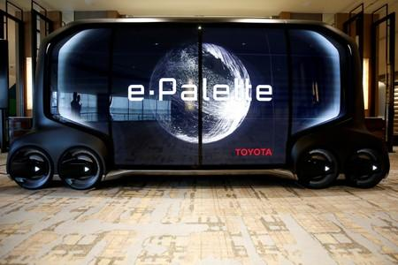 FILE PHOTO : A mock of self-driving car e-Palette is displayed at a news conference by Monet Technologies Inc., a joint venture of SoftBank Corp and Toyota Motor Corp that will develop self-driving car services, in Tokyo