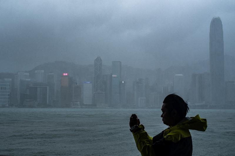 Hong Kong's observatory warned that Mangkhut would pass 100 kilometres south of the city as it raised the storm alert to its highest level (AFP Photo/Philip FONG)