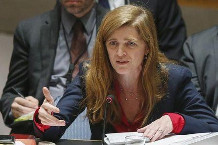 United States Ambassador to the United Nations Samantha Power addresses members of the U.N. Security Council during a meeting about Ukraine situation, at the U.N. headquarters in New York, March 6, 2015. REUTERS/Eduardo Munoz