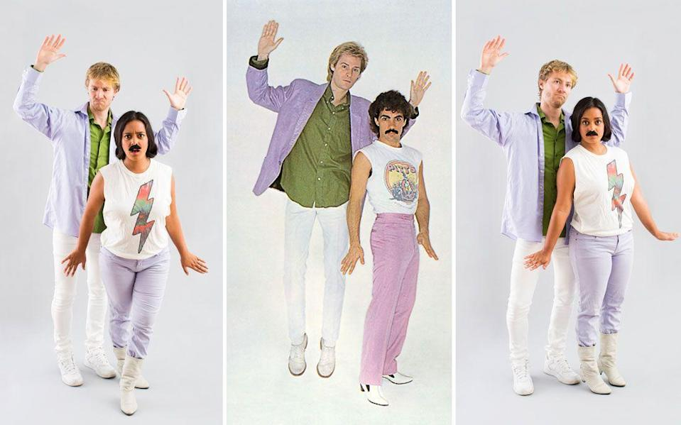"""<p>Make your dreams come true this Halloween with a DIY Hall and Oates costume. This colorful tribute to the '80s hit-making duo will score you plenty of nostalgia points this holiday.</p><p><strong>See more at <a href=""""https://www.brit.co/diy-couples-costumes-2014/"""" rel=""""nofollow noopener"""" target=""""_blank"""" data-ylk=""""slk:Brit + Co"""" class=""""link rapid-noclick-resp"""">Brit + Co</a>.</strong></p><p><a class=""""link rapid-noclick-resp"""" href=""""https://go.redirectingat.com?id=74968X1596630&url=https%3A%2F%2Fwww.walmart.com%2Fip%2FFake-Mustache-Party-Favors-Assorted-4ct%2F416153345&sref=https%3A%2F%2Fwww.thepioneerwoman.com%2Fholidays-celebrations%2Fg32645069%2F80s-halloween-costumes%2F"""" rel=""""nofollow noopener"""" target=""""_blank"""" data-ylk=""""slk:SHOP FAKE MUSTACHES"""">SHOP FAKE MUSTACHES</a></p>"""