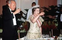 """<p>The Queen delivers a Christmas Eve toast with a Martini to kick off the holiday festivities, according to the documentary <em>Inside Sandringham: Holidaying With The Queen</em>. </p><p>""""I think the Queen likes a Martini, other people would rather have champagne,"""" Ingrid Seward, editor of <em>Majesty </em>magazine <a href=""""https://www.countryliving.com/uk/homes-interiors/interiors/a30177985/queen-christmas-rituals/"""" rel=""""nofollow noopener"""" target=""""_blank"""" data-ylk=""""slk:says"""" class=""""link rapid-noclick-resp"""">says</a>. """"Prince Philip isn't a great drinker, he always used to drink pale ale.""""</p>"""