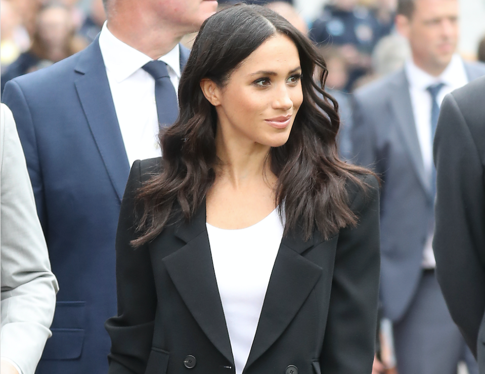 The Duchess of Sussex has changed into a more relaxed suit for the second day of her tour of Ireland. [Photo: Getty]