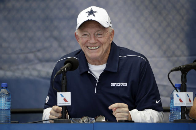 Dallas Cowboys owner Jerry Jones was back to work at the team facility on Tuesday. (AP Photo/Marcio Jose Sanchez)