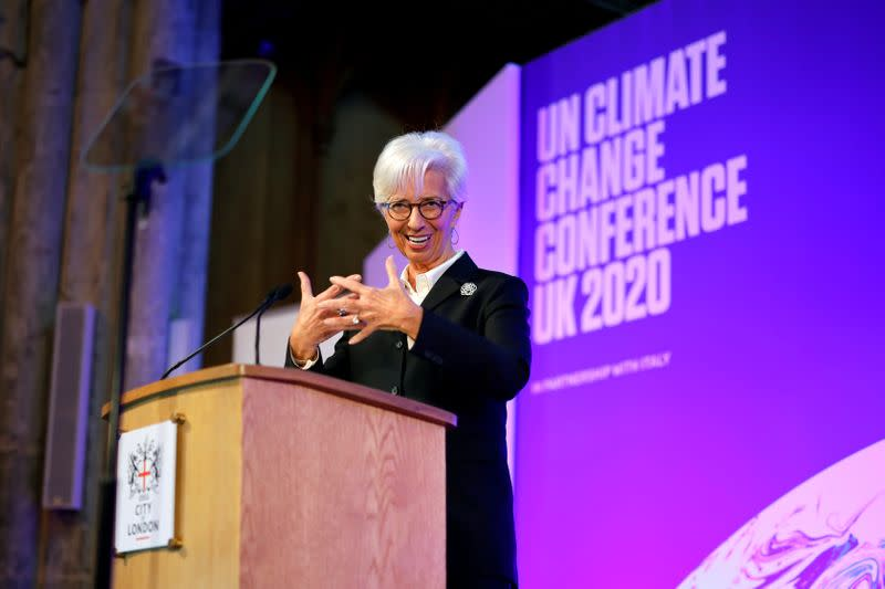 FILE PHOTO: FILE PHOTO: European Central Bank (ECB) President Christine Lagarde addresses an event to launch the private finance agenda for the 2020 United Nations Climate Change Conference (COP26) at Guildhall in London