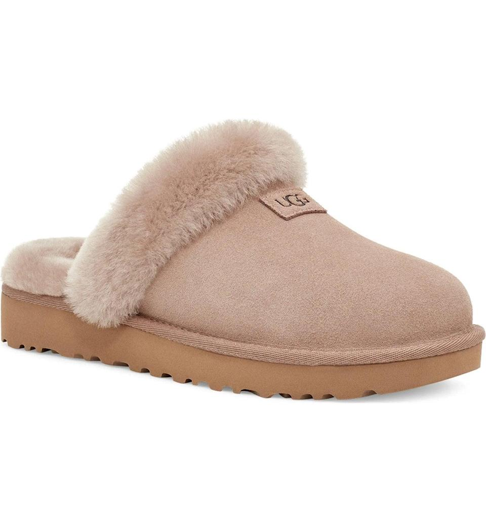 """<h2>Ugg Genuine Shearling Slipper</h2><br>""""Who doesn't need some comfy slides? These UGG ones look like you'll be walking on clouds with every step. I love that the bottom looks like it has good grip and enough height, so you won't be slipping around everywhere on smooth floors. """"<em>—Mercedes Viera, Associate Deals Writer</em><br><br><em>Shop</em> <strong><em><a href=""""https://www.nordstrom.com/brands/uggsupsup--1320"""" rel=""""nofollow noopener"""" target=""""_blank"""" data-ylk=""""slk:Ugg"""" class=""""link rapid-noclick-resp"""">Ugg</a></em></strong><br><br><strong>Ugg</strong> Genuine Shearling Slipper, $, available at <a href=""""https://go.skimresources.com/?id=30283X879131&url=https%3A%2F%2Fwww.nordstrom.com%2Fs%2Fugg-genuine-shearling-slipper-women%2F5868136"""" rel=""""nofollow noopener"""" target=""""_blank"""" data-ylk=""""slk:Nordstrom"""" class=""""link rapid-noclick-resp"""">Nordstrom</a>"""