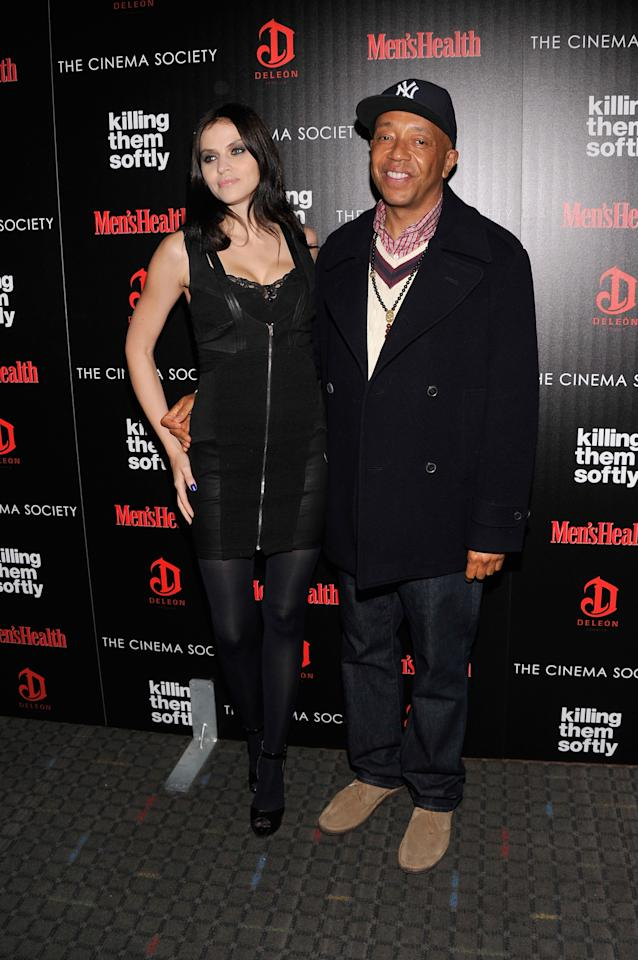 """NEW YORK, NY - NOVEMBER 26:  (L-R) Hana Nitsche and Russell Simmons attend The Cinema Society with Men's Health and DeLeon hosted screening of The Weinstein Company's """"Killing Them Softly"""" on November 26, 2012 in New York City.  (Photo by Stephen Lovekin/Getty Images)"""