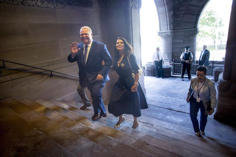 <p>Doug Ford and his wife, Karla, arrive at Queen's Park in Toronto to be sworn in as the 26th premier of Ontario. Photo from The Canadian Press. </p>
