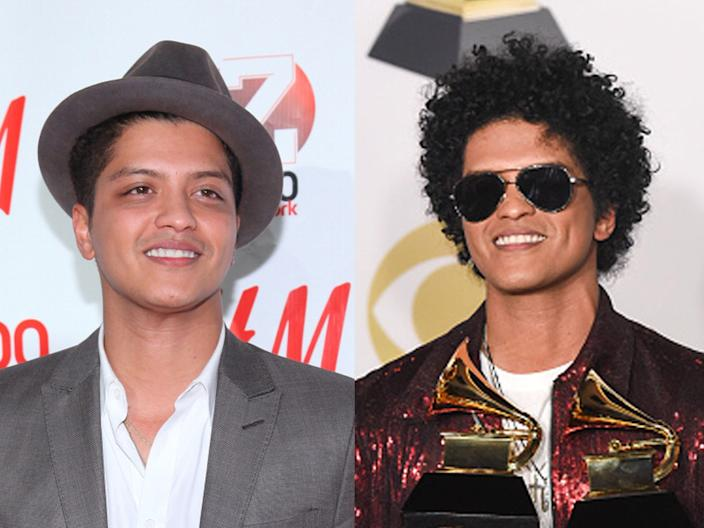 Bruno Mars at the 2010 Jingle Ball and the 60th Annual Grammy Awards in 2018.