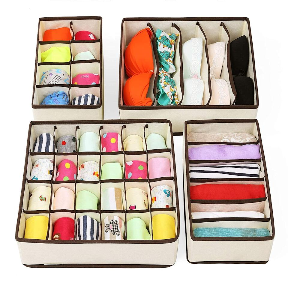 "<p>If your dresser is overflowing, get this <a href=""https://www.popsugar.com/buy/Zimtown-Set-4-Foldable-Under-Bed-Organizers-446152?p_name=Zimtown%20Set%20of%204%20Foldable%20Under%20Bed%20Organizers&retailer=walmart.com&pid=446152&price=14&evar1=casa%3Auk&evar9=46607561&evar98=https%3A%2F%2Fwww.popsugar.com%2Fhome%2Fphoto-gallery%2F46607561%2Fimage%2F46607587%2FZimtown-Set-4-Foldable-Under-Bed-Organizers&list1=shopping%2Cwalmart%2Corganization%2Cbedrooms%2Chome%20organization%2Chome%20shopping&prop13=api&pdata=1"" rel=""nofollow"" data-shoppable-link=""1"" target=""_blank"" class=""ga-track"" data-ga-category=""Related"" data-ga-label=""https://www.walmart.com/ip/Zimtown-Set-of-4-Foldable-Drawer-Dividers-Storage-Boxes-Closet-Organizers-Under-Bed-Organizer/491937888"" data-ga-action=""In-Line Links"">Zimtown Set of 4 Foldable Under Bed Organizers</a> ($14).</p>"
